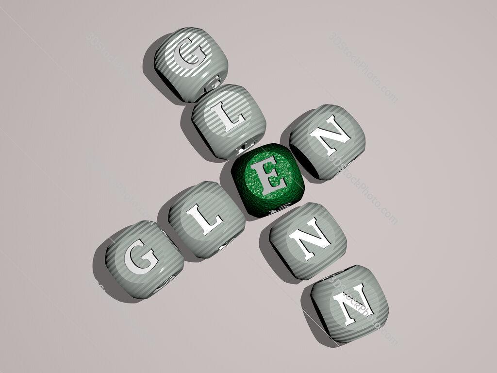 Glen Glenn crossword of dice letters in color
