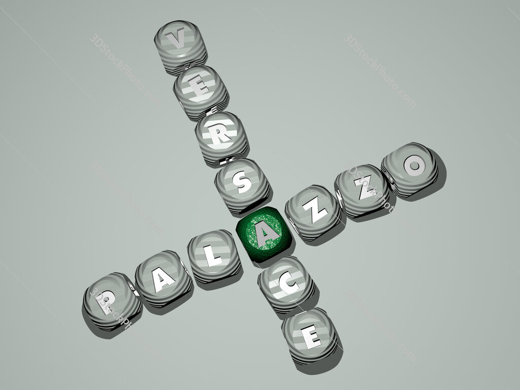 Palazzo Versace crossword of dice letters in color