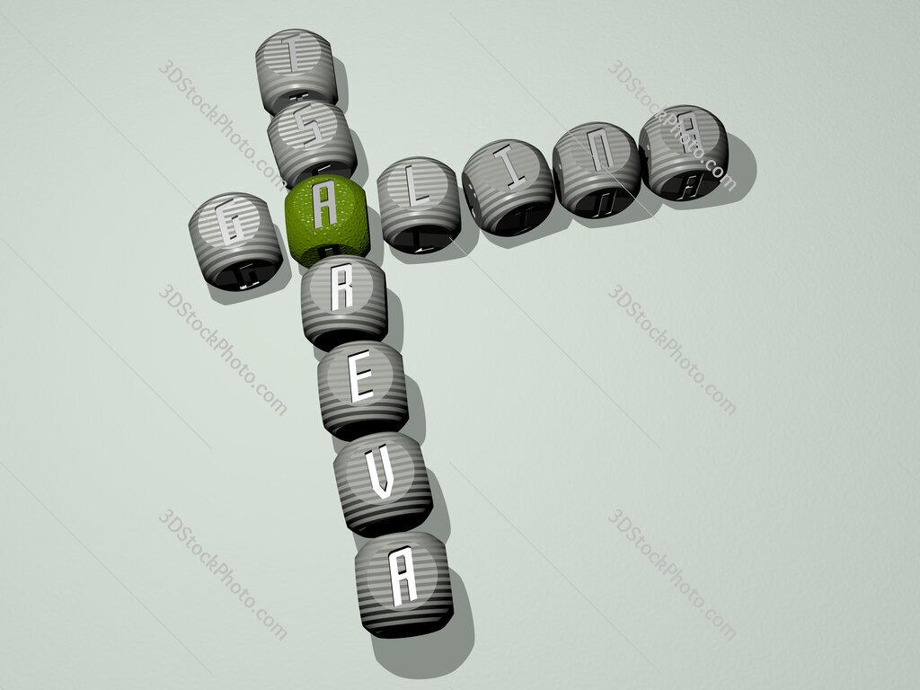 Galina Tsareva crossword of dice letters in color