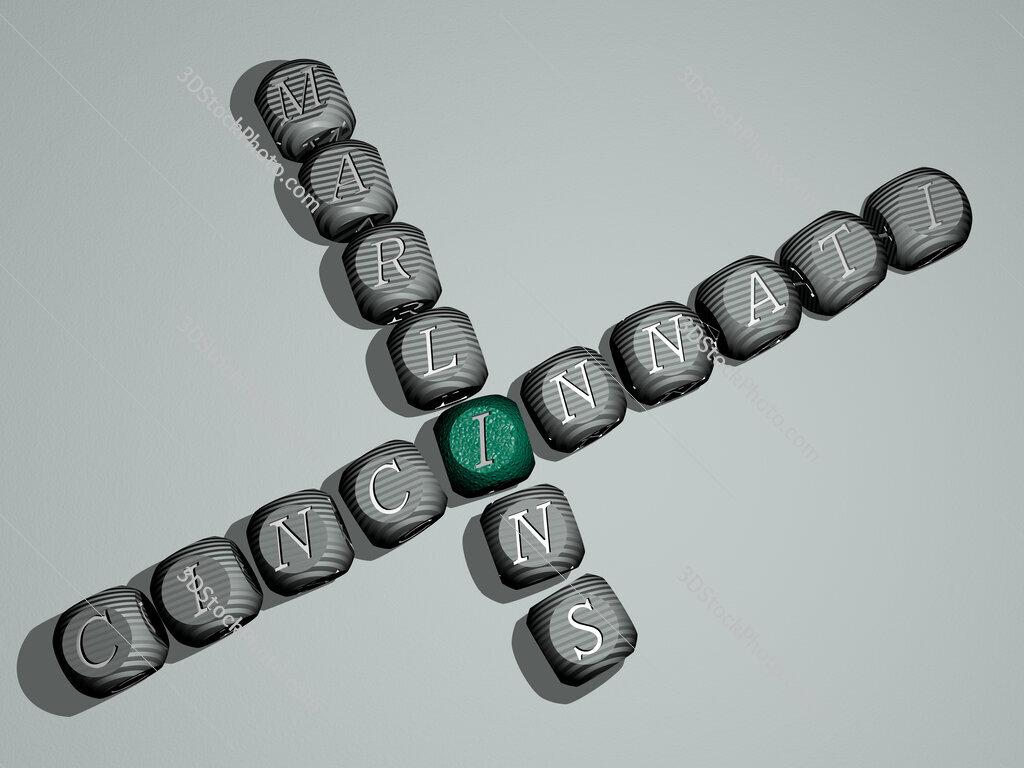 Cincinnati Marlins crossword of dice letters in color