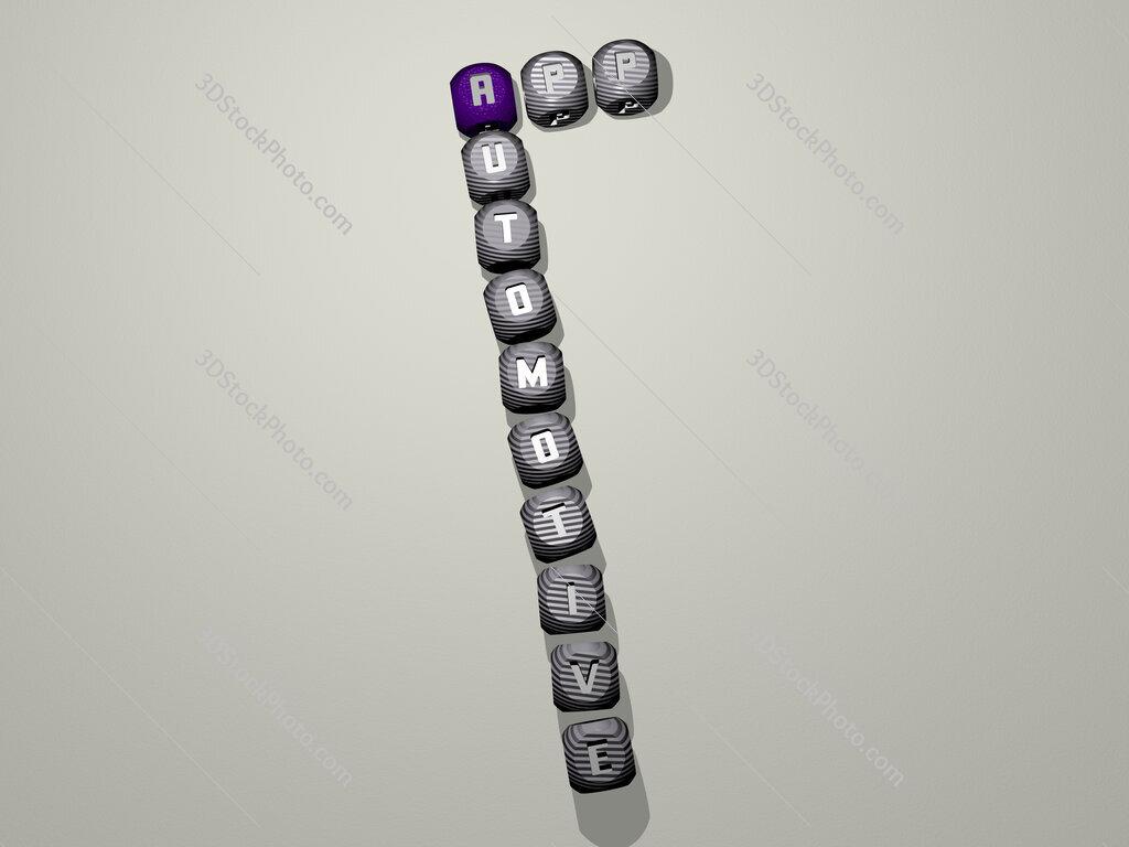 APP Automotive crossword of dice letters in color