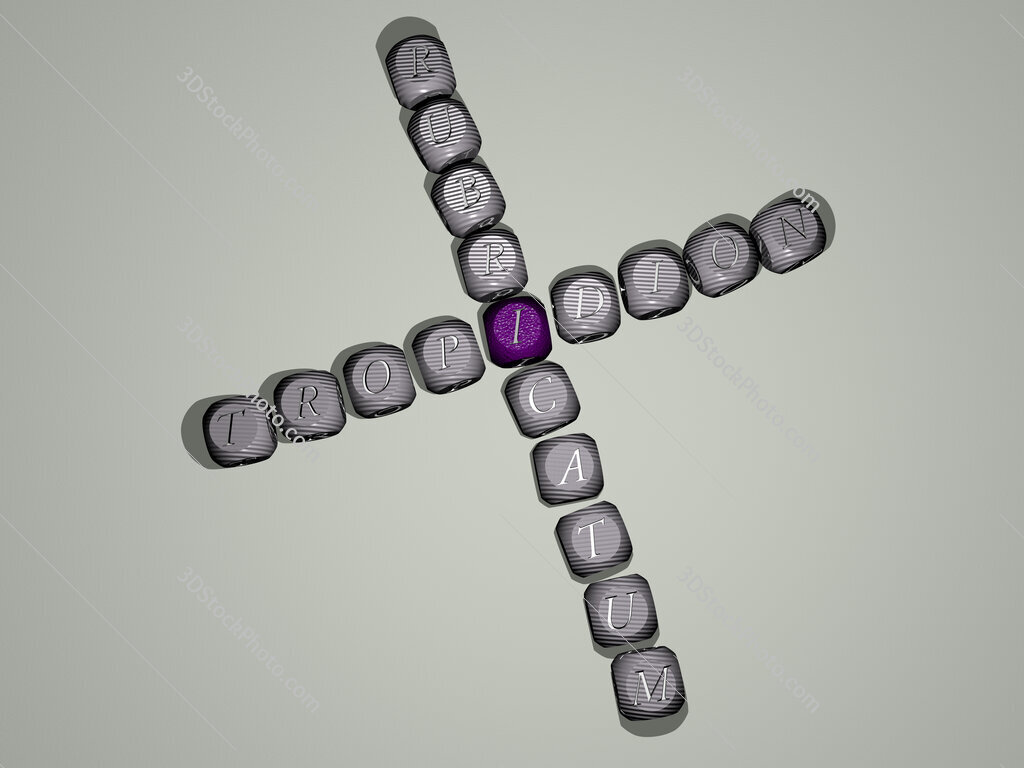 Tropidion rubricatum crossword of dice letters in color