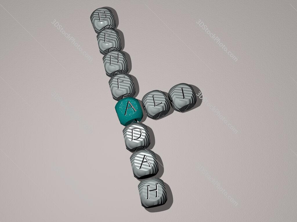 Ali Benfadah crossword of dice letters in color