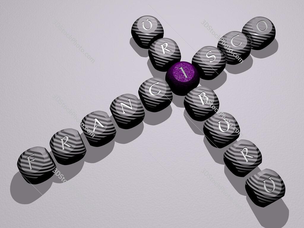 Francisco Uriburu crossword of dice letters in color