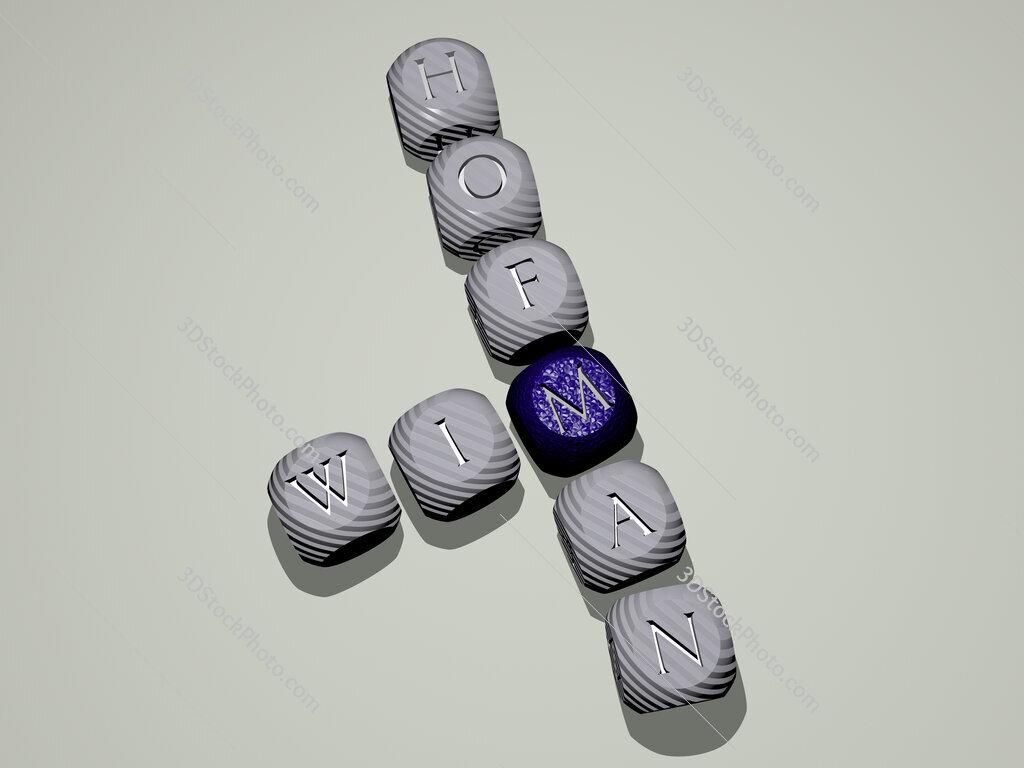 Wim Hofman crossword of dice letters in color