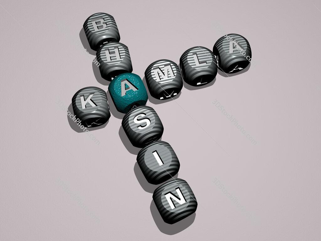 Kamla Bhasin crossword of dice letters in color