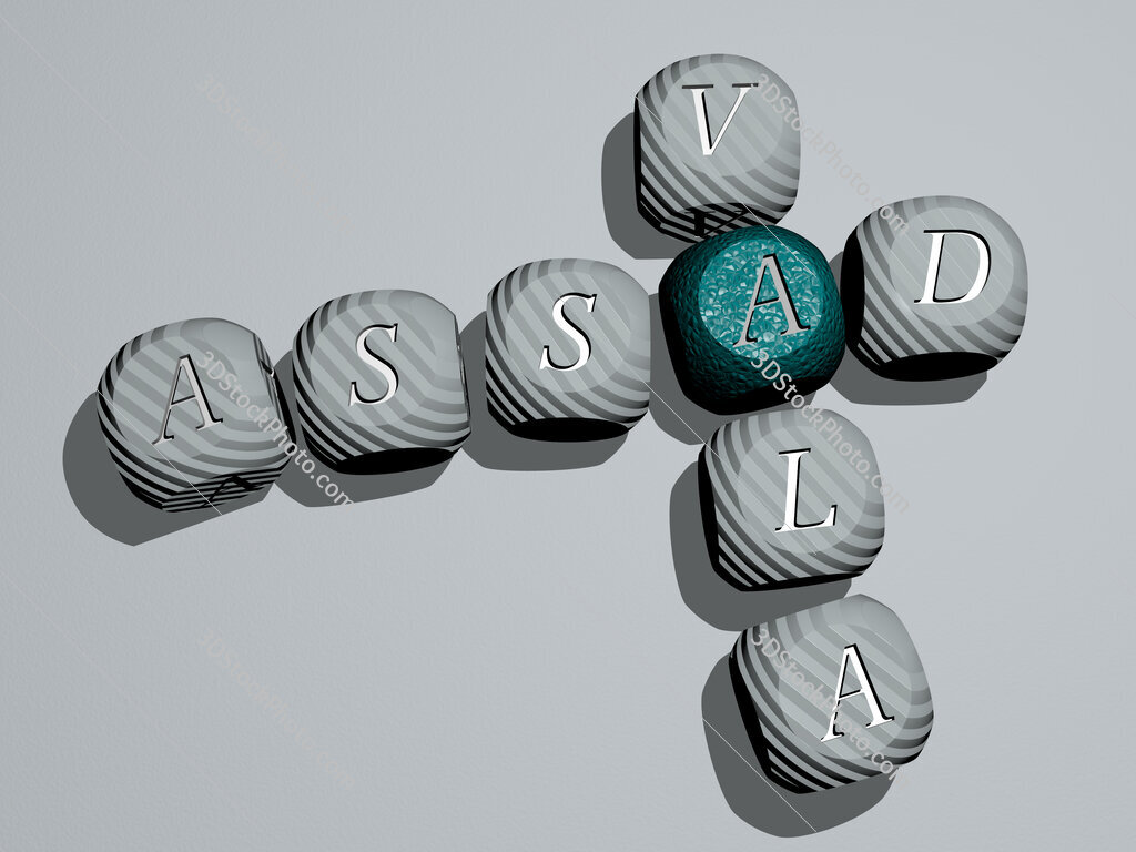 Assad Vala crossword of dice letters in color