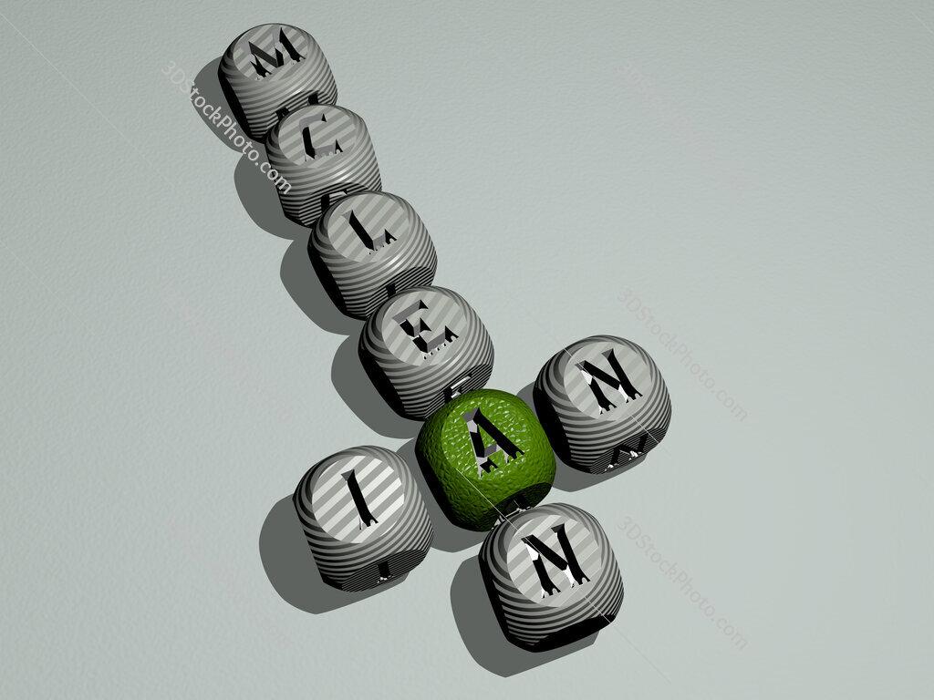 Ian McLean crossword of dice letters in color