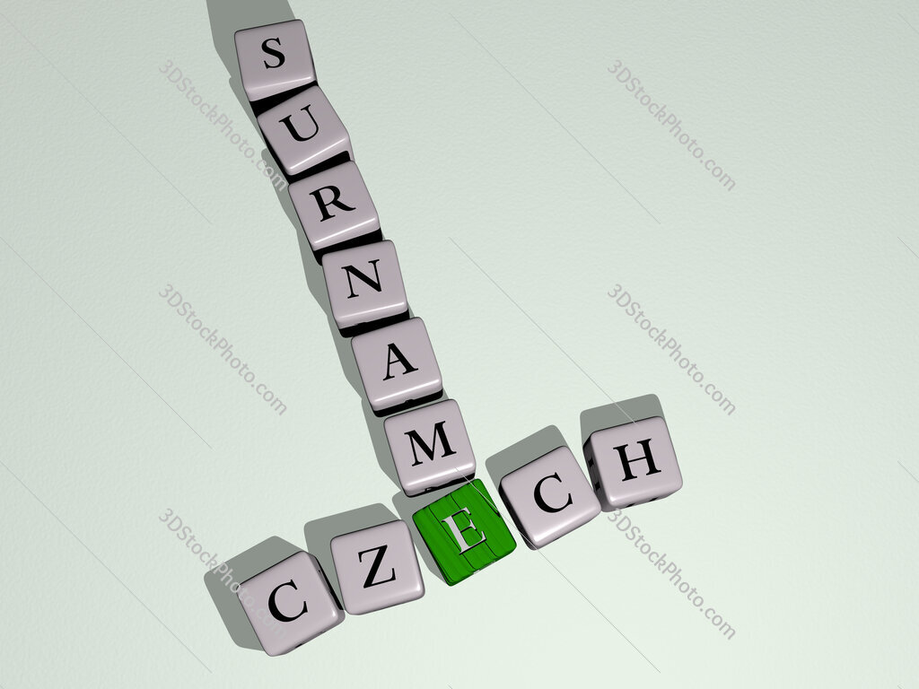 Czech surname crossword by cubic dice letters