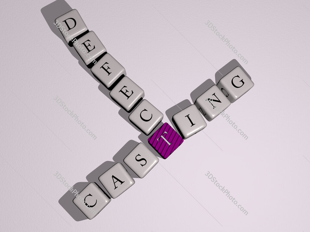 Casting defect crossword by cubic dice letters