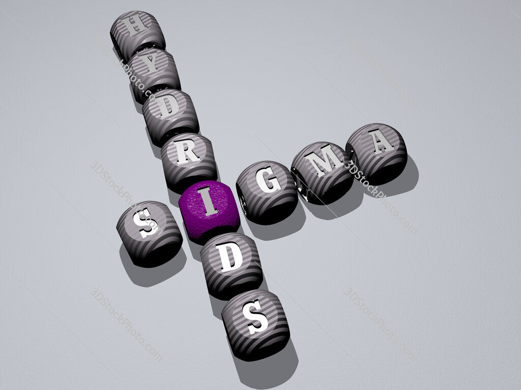 Sigma Hydrids crossword of dice letters in color