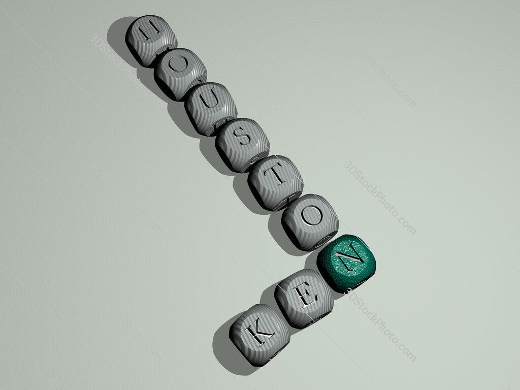 Ken Houston crossword of dice letters in color