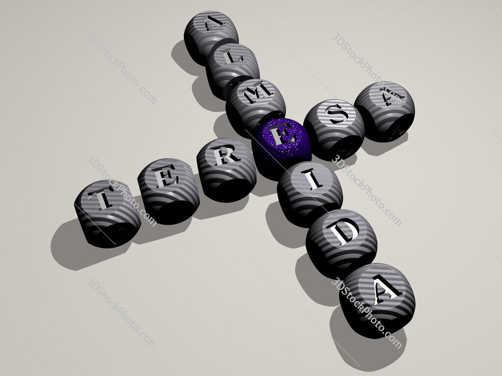 Teresa Almeida crossword of dice letters in color