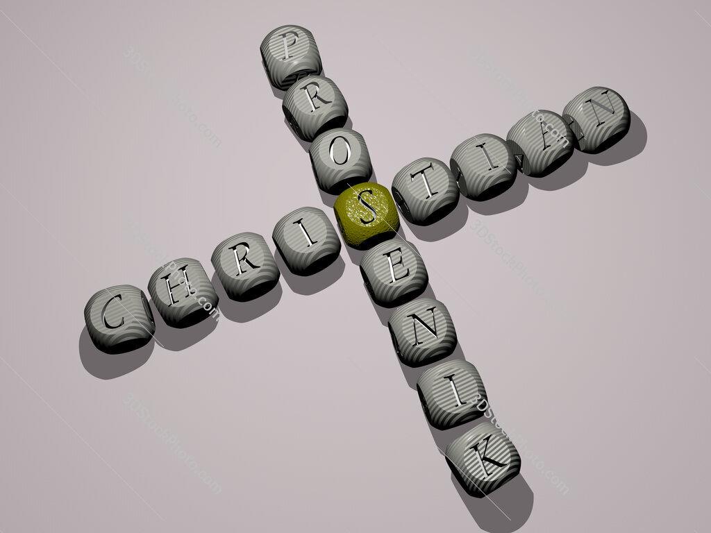 Christian Prosenik crossword of dice letters in color