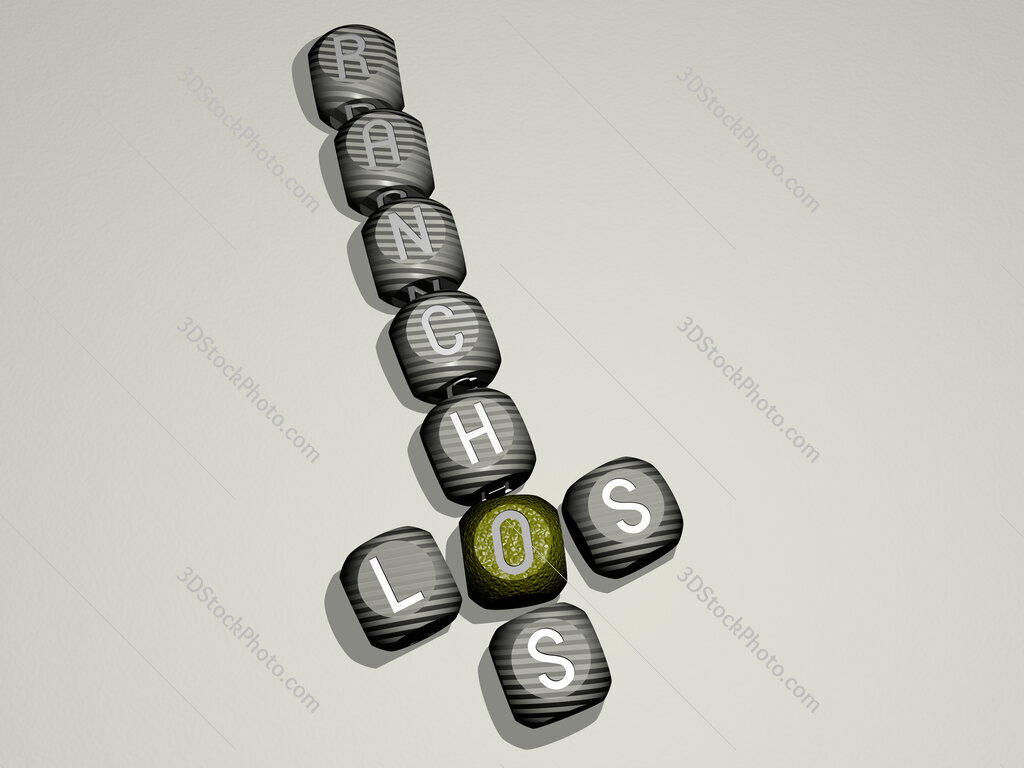 Los Ranchos crossword of dice letters in color