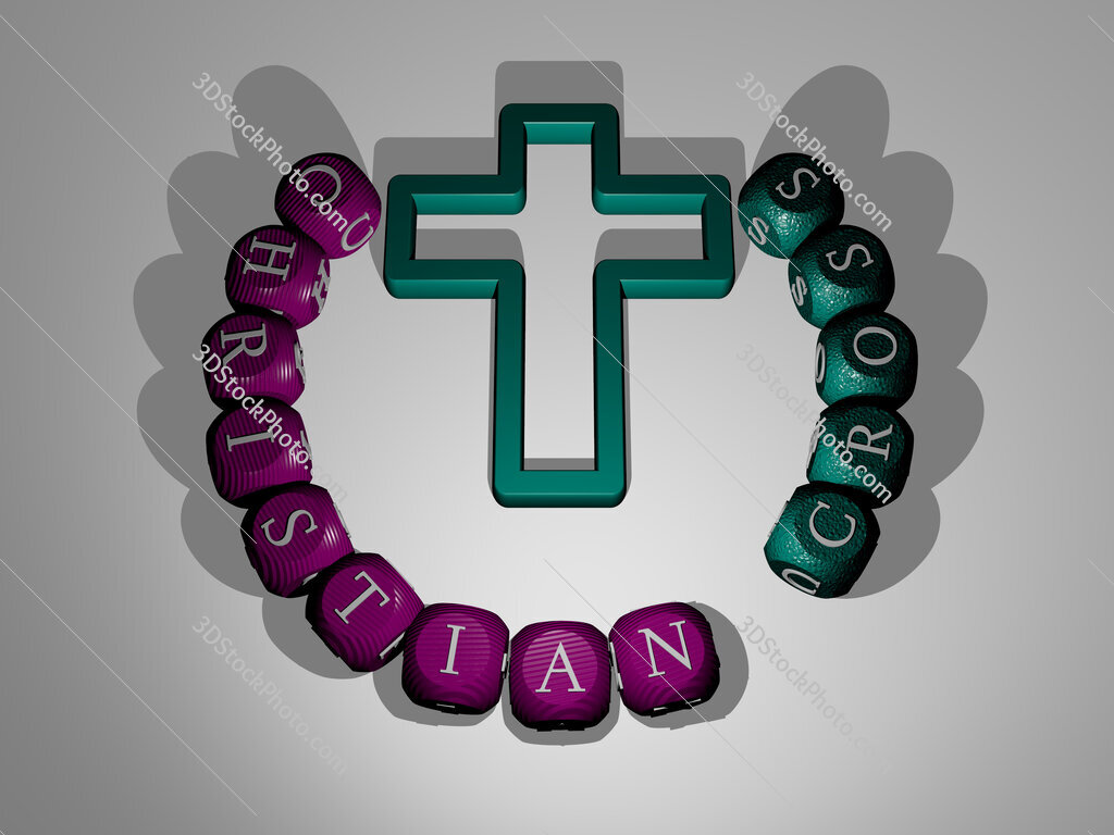 christian cross text around the 3D icon
