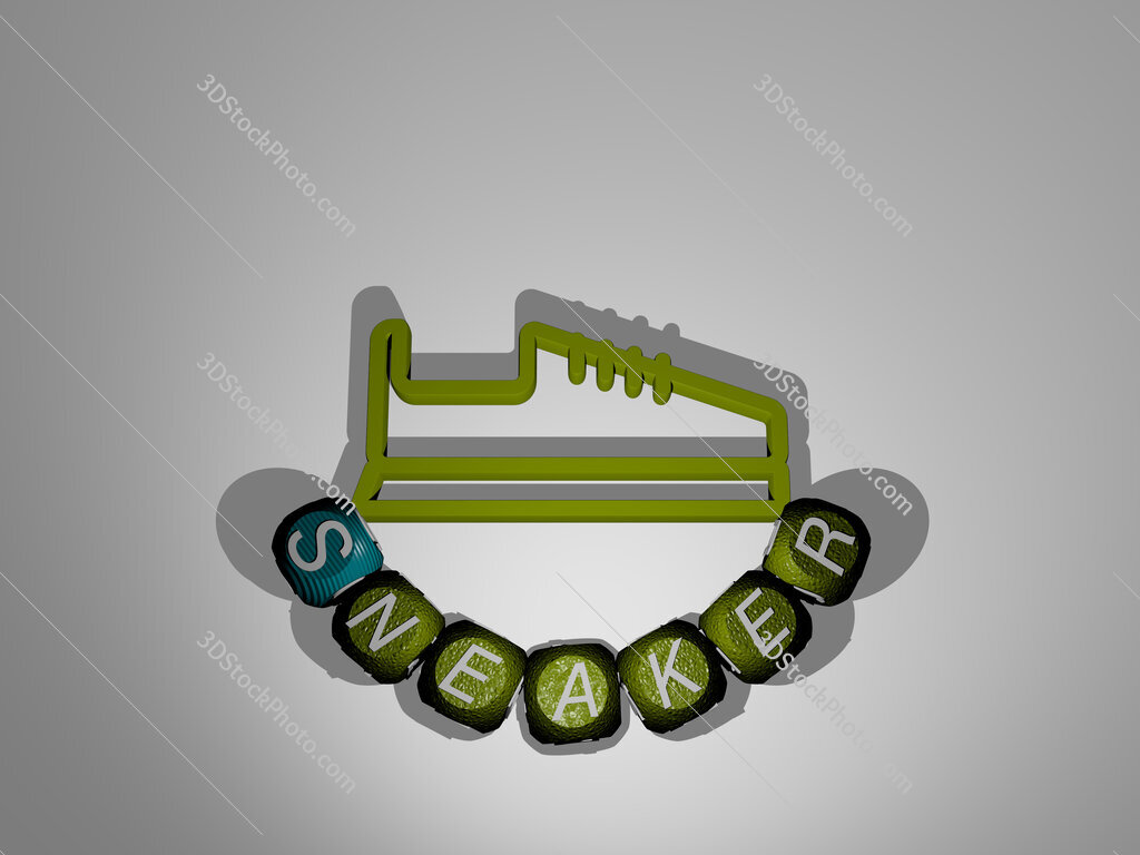sneaker text around the 3D icon