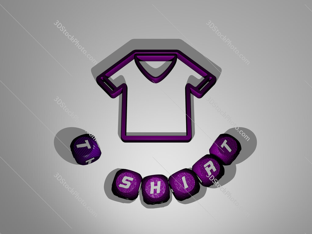 t shirt text around the 3D icon