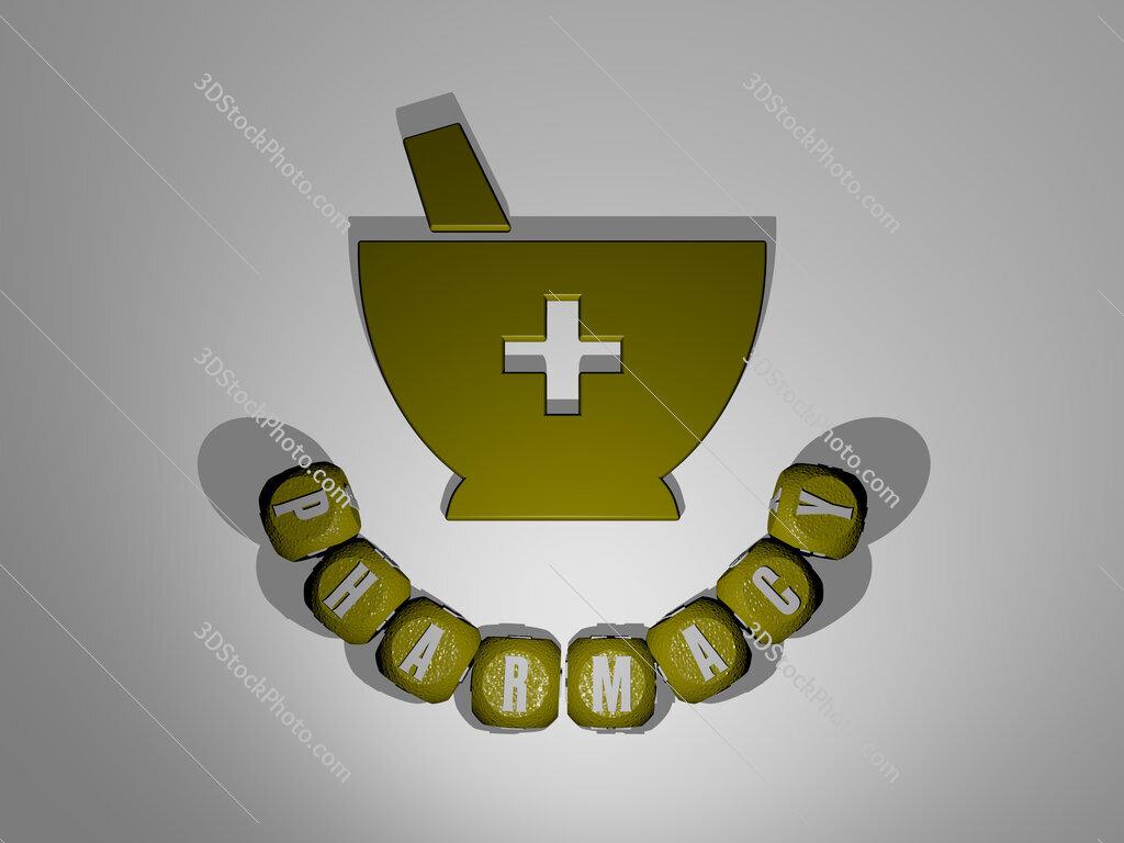 pharmacy text around the 3D icon