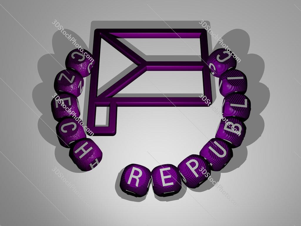 czech republic text around the 3D icon