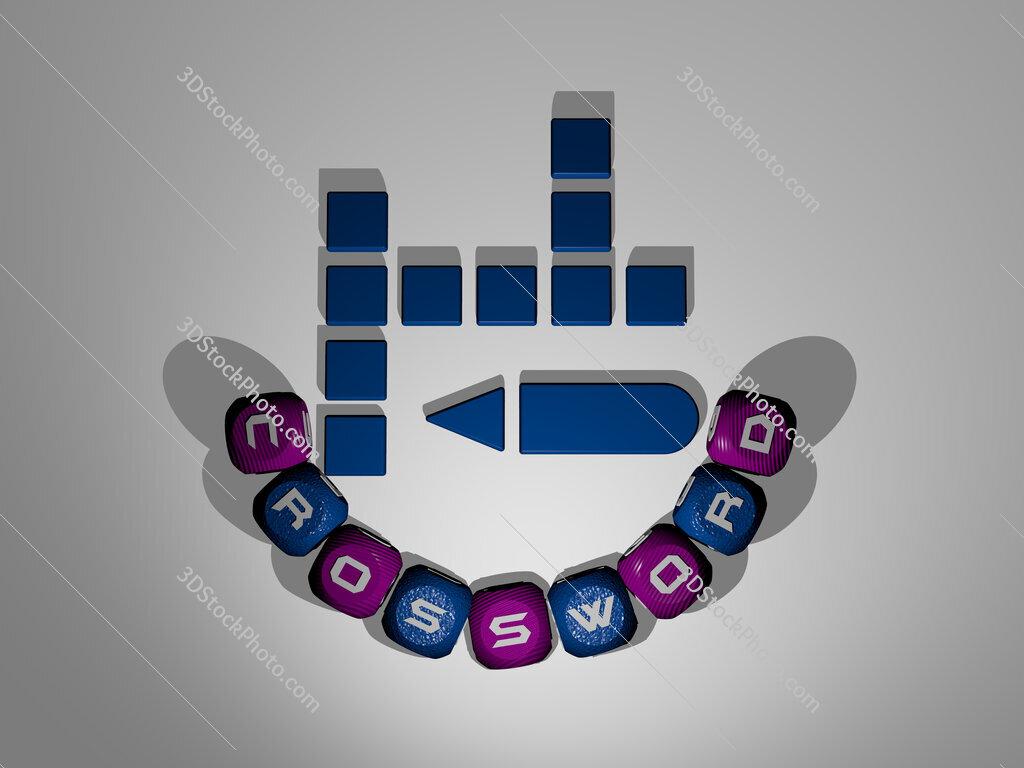 crossword text around the 3D icon