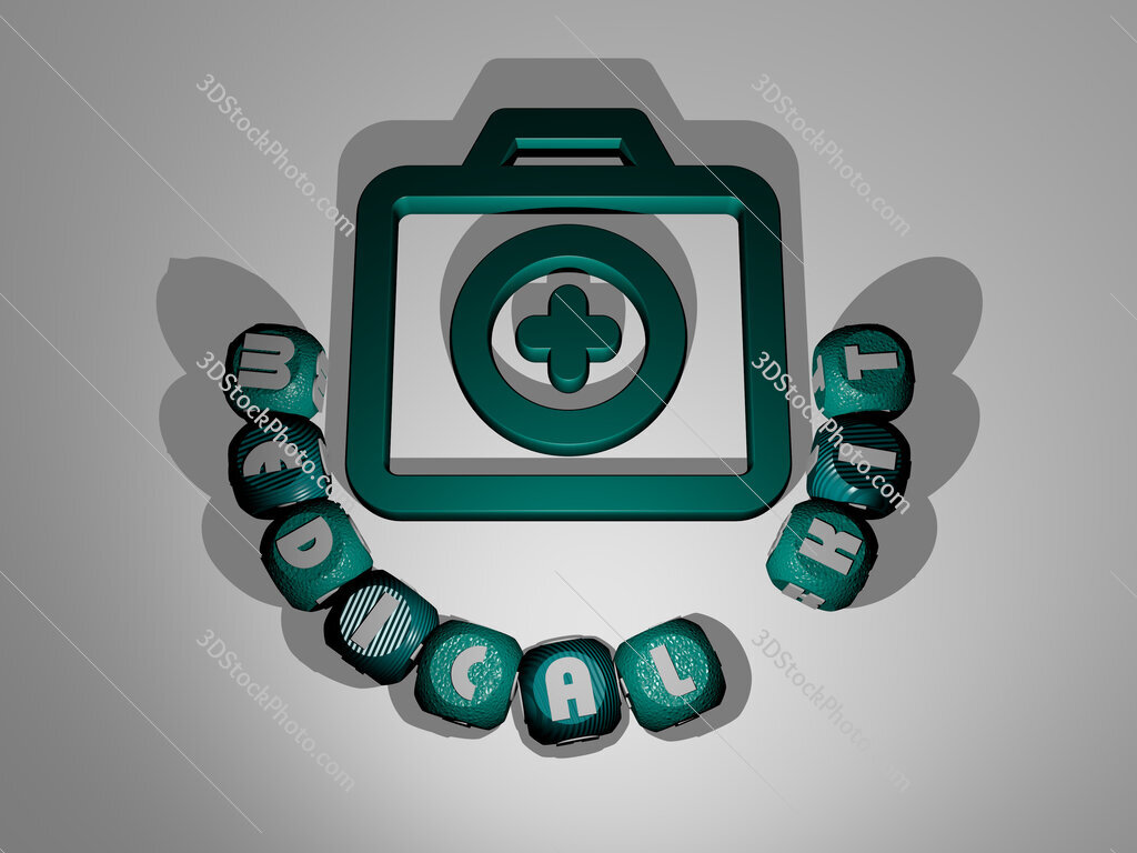 medical kit text around the 3D icon