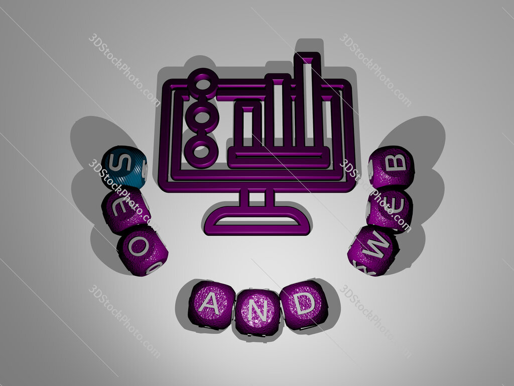 seo and web text around the 3D icon