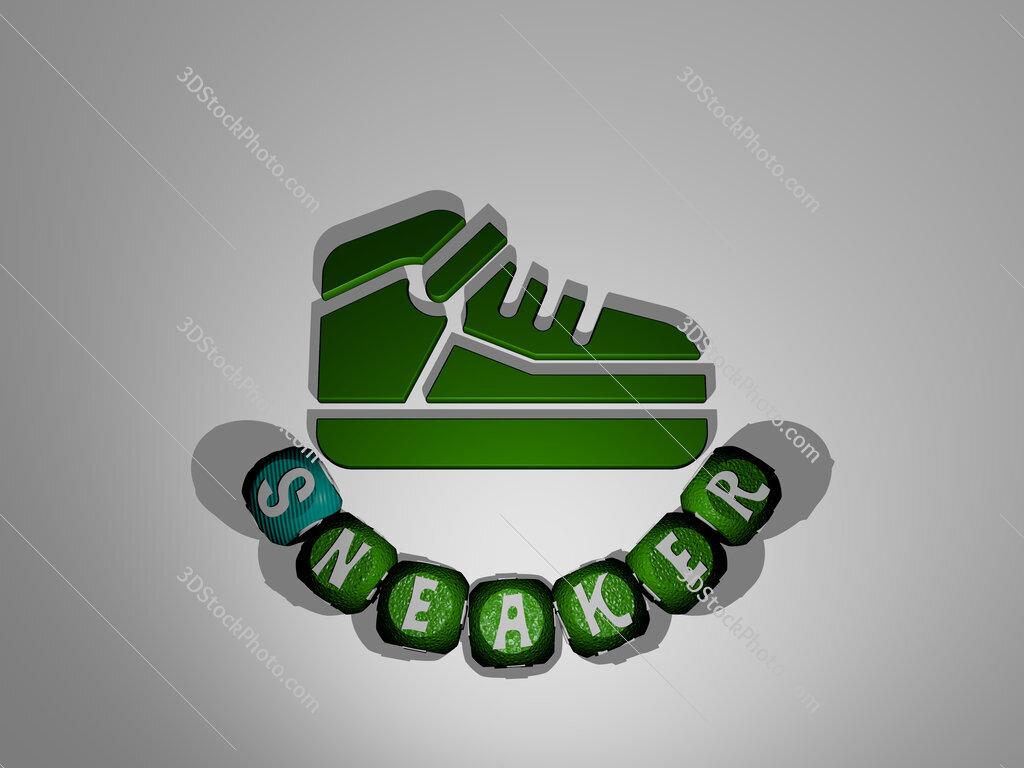 sneaker text around the 3D icon