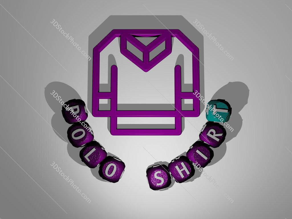 polo shirt text around the 3D icon