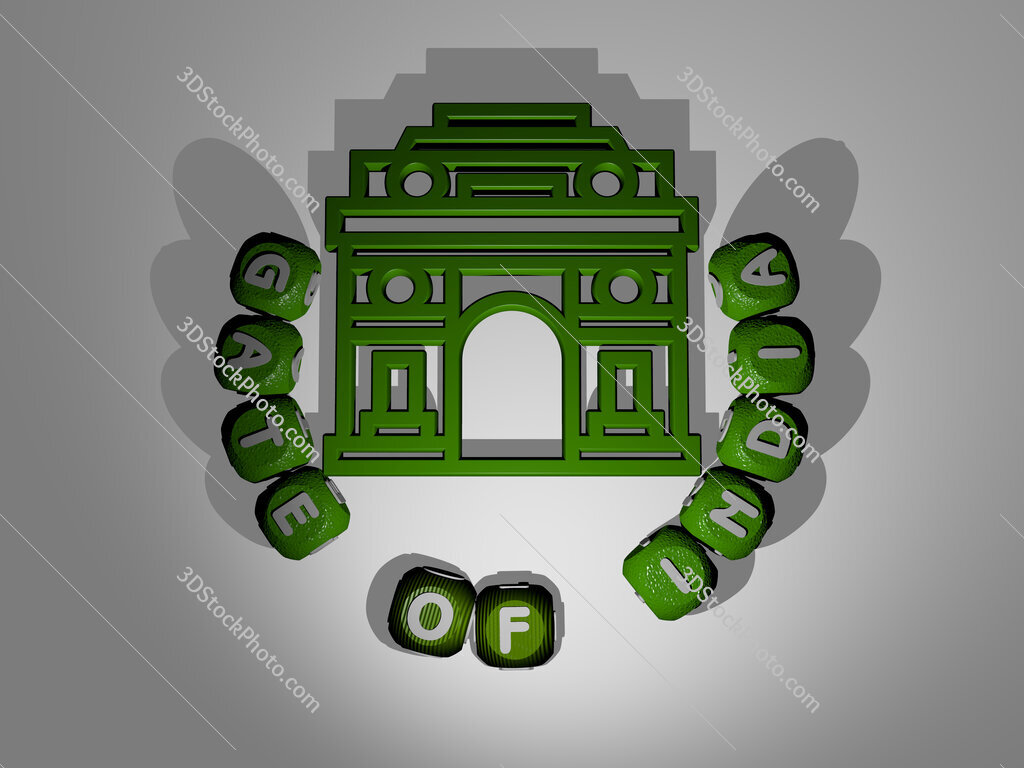 gate of india text around the 3D icon