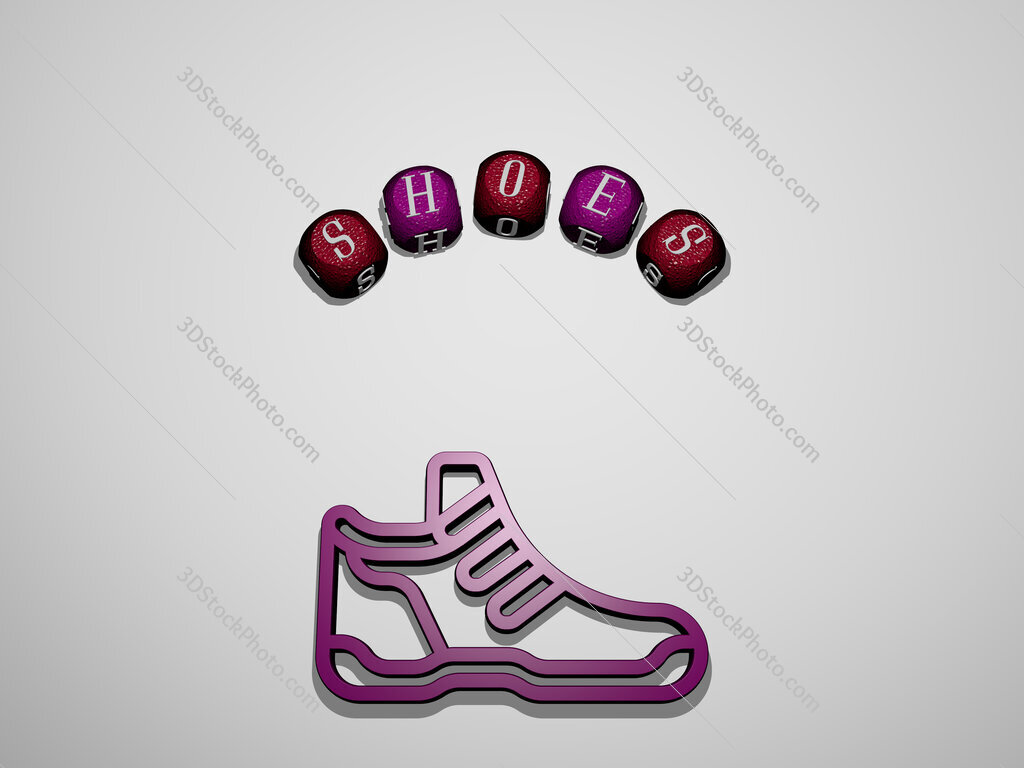 shoes icon surrounded by the text of individual letters