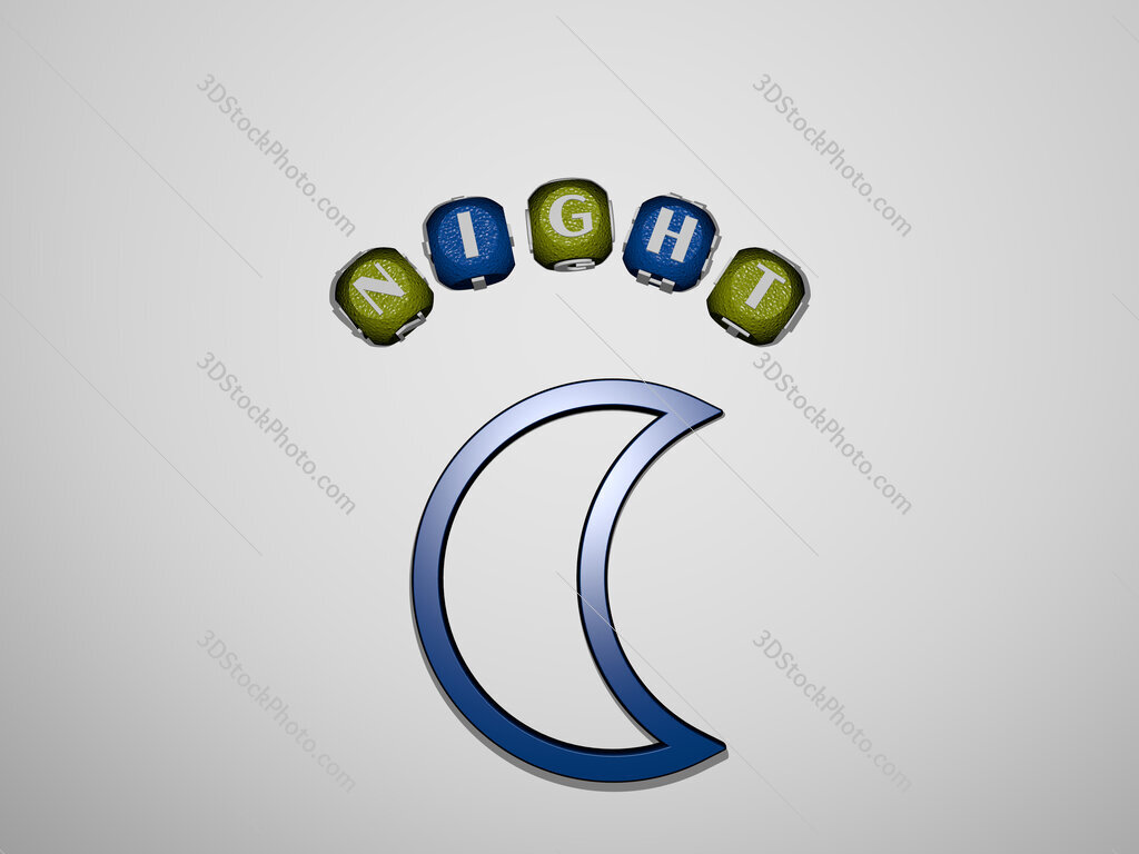 night icon surrounded by the text of individual letters