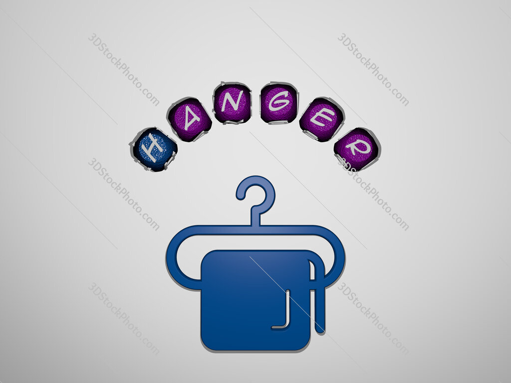 Hanger icon surrounded by the text of individual letters