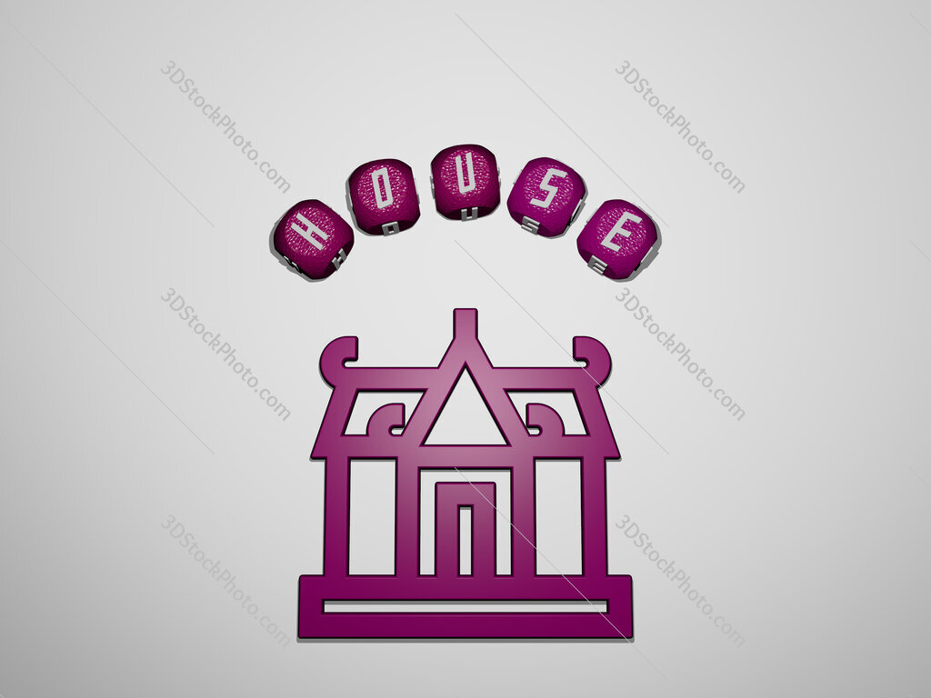house icon surrounded by the text of individual letters
