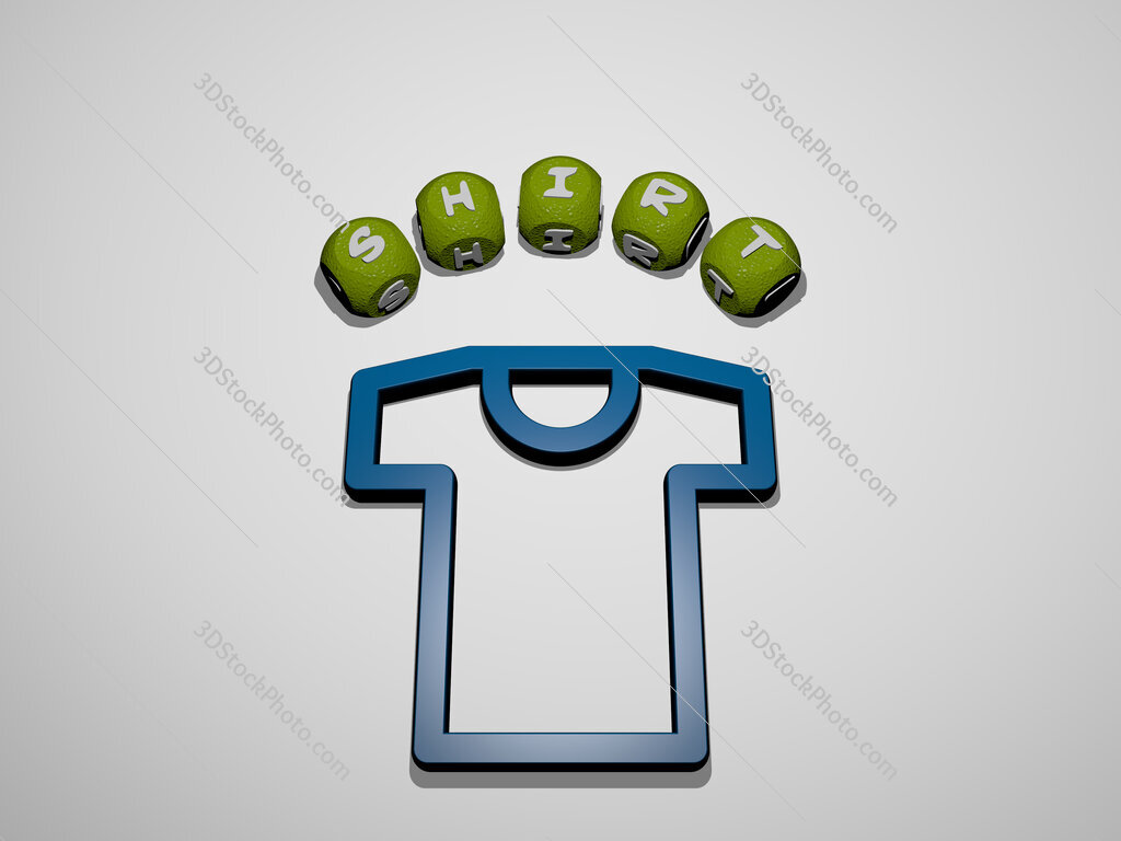shirt icon surrounded by the text of individual letters