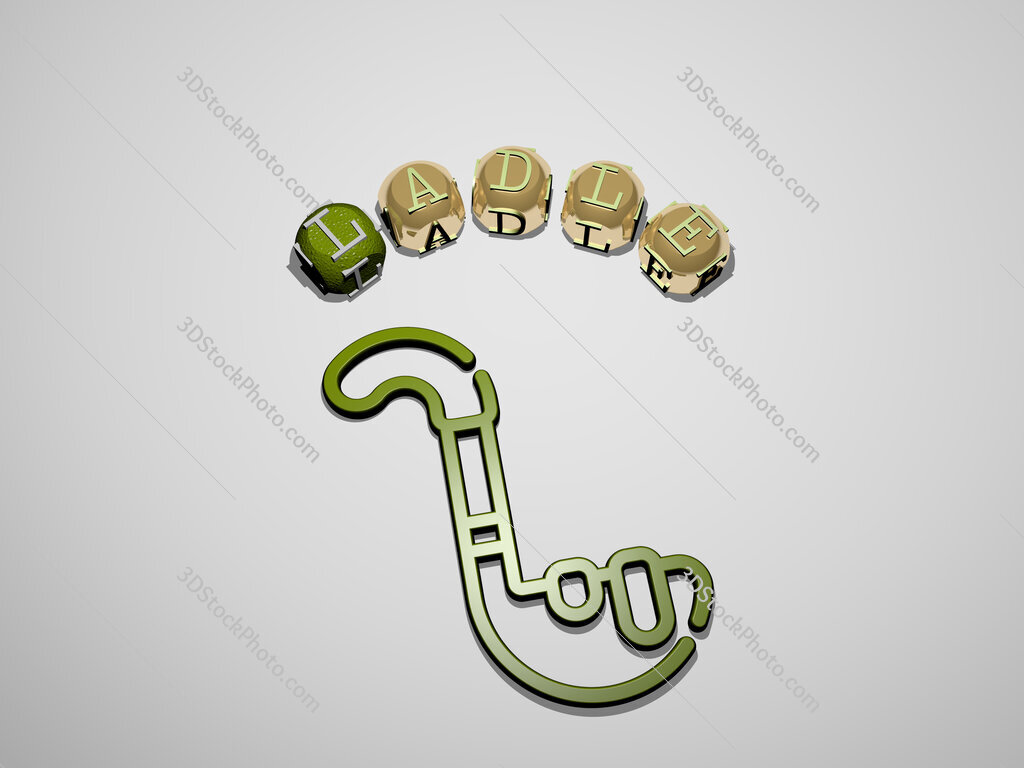 ladle 3D icon surrounded by the text of cubic letters