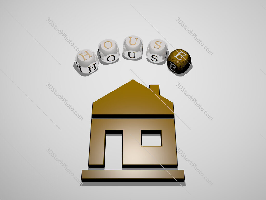house 3D icon surrounded by the text of cubic letters