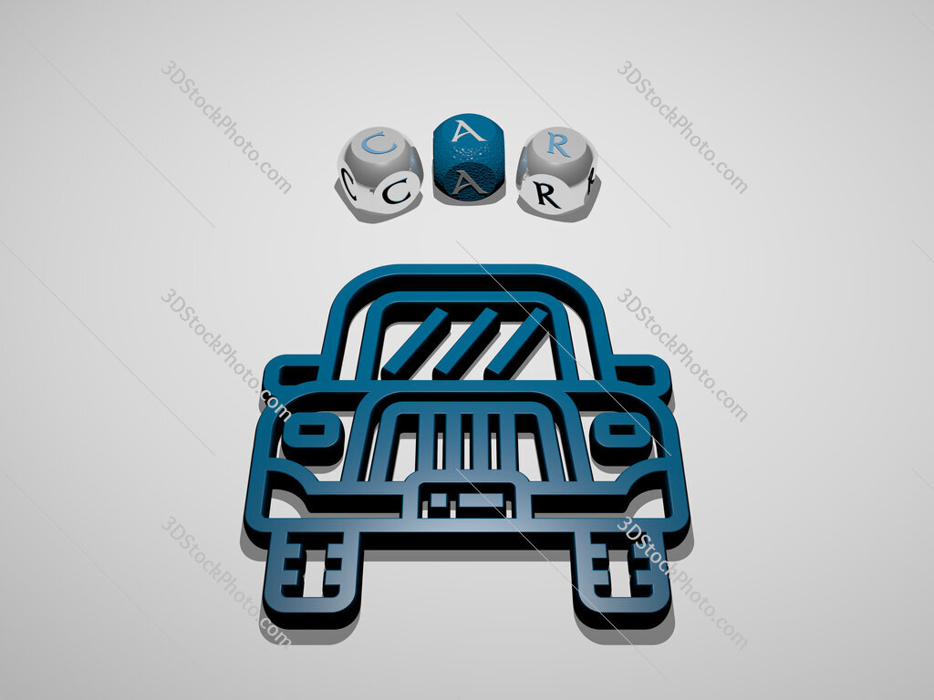 car 3D icon surrounded by the text of cubic letters