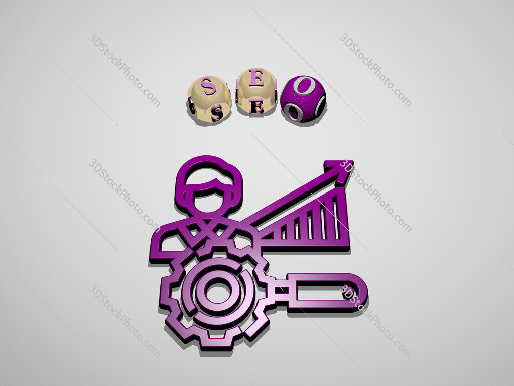seo 3D icon surrounded by the text of cubic letters