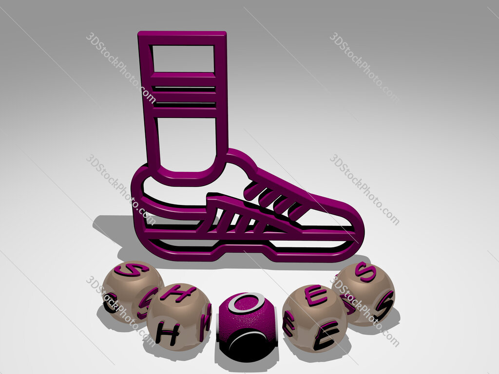 shoes round text of cubic letters around 3D icon