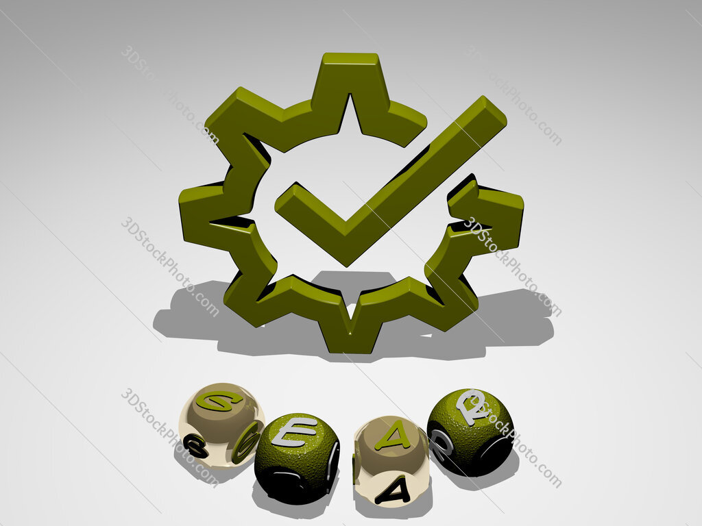 gear round text of cubic letters around 3D icon