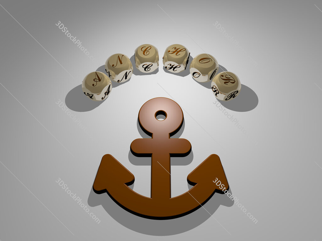 Anchor circular text of separate letters around the 3D icon