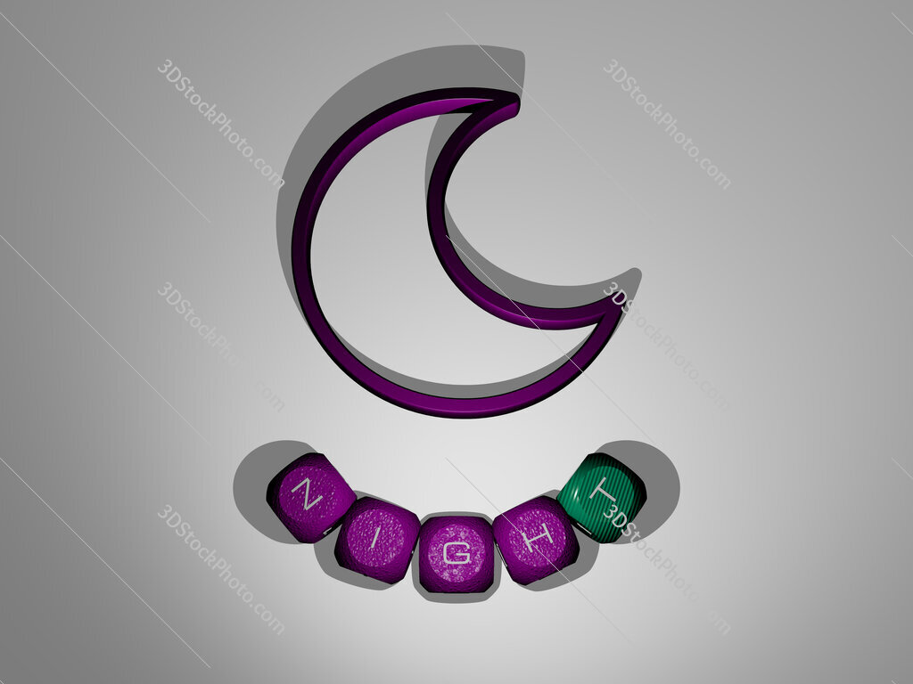 night text around the 3D icon