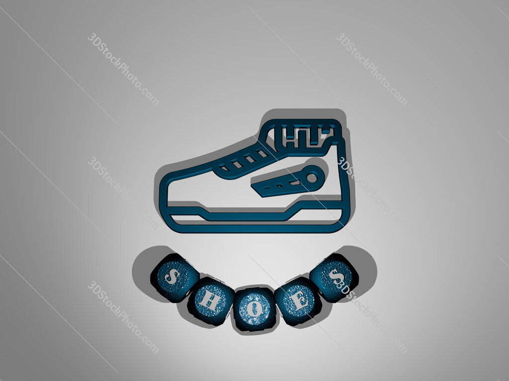 shoes text around the 3D icon