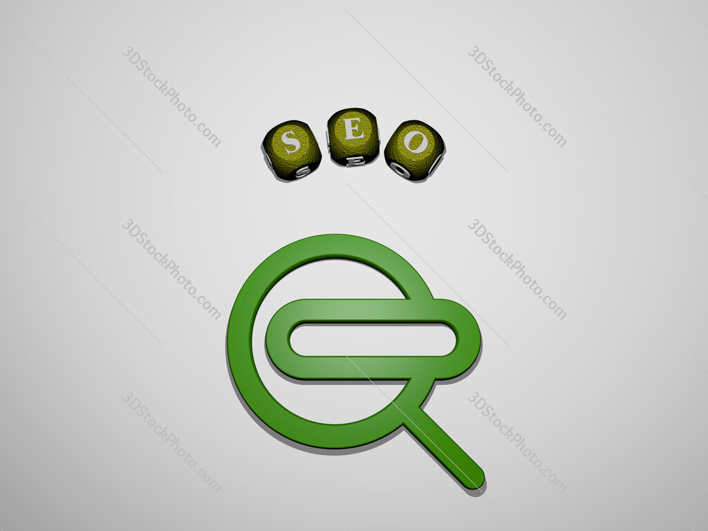 seo icon surrounded by the text of individual letters