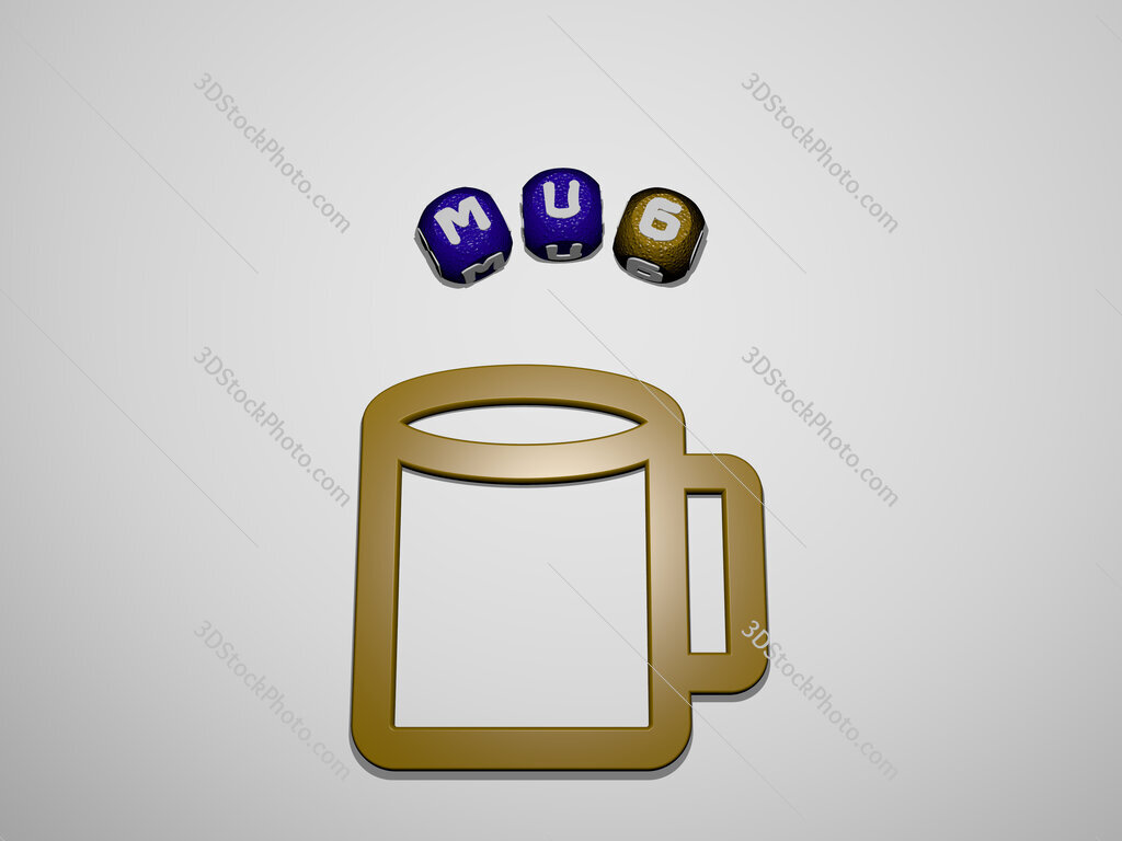mug icon surrounded by the text of individual letters