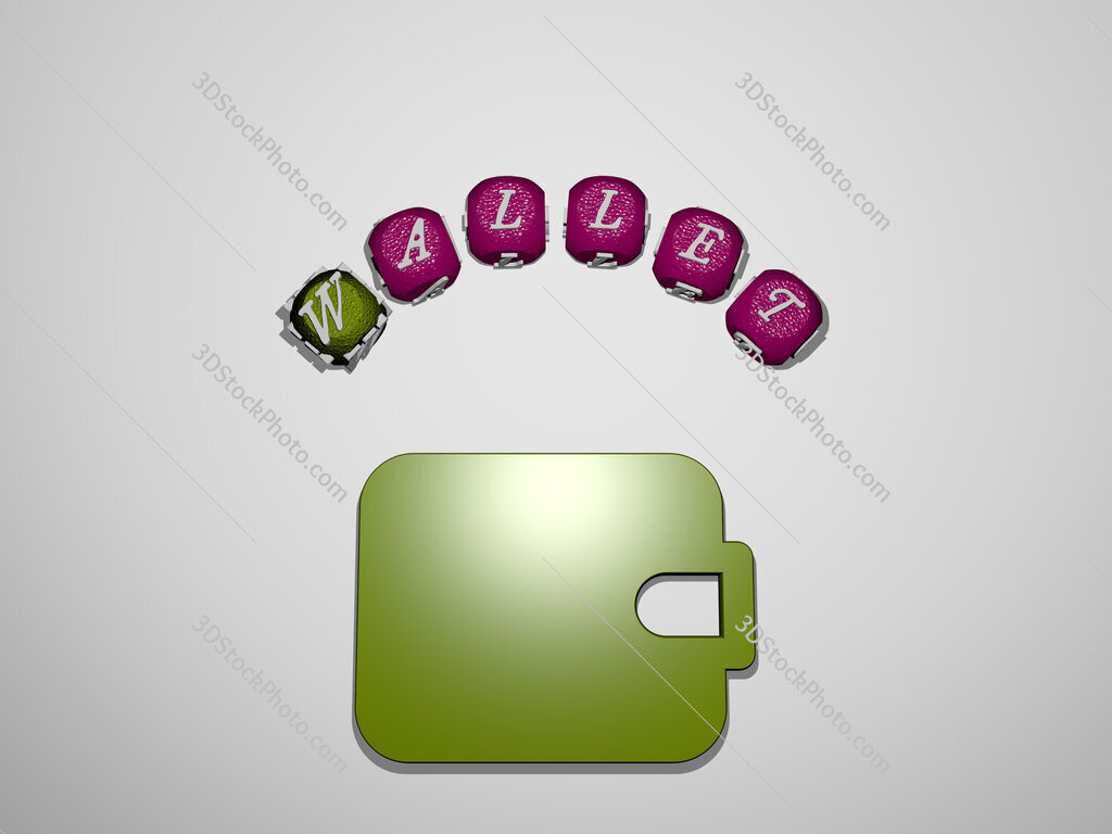 wallet icon surrounded by the text of individual letters