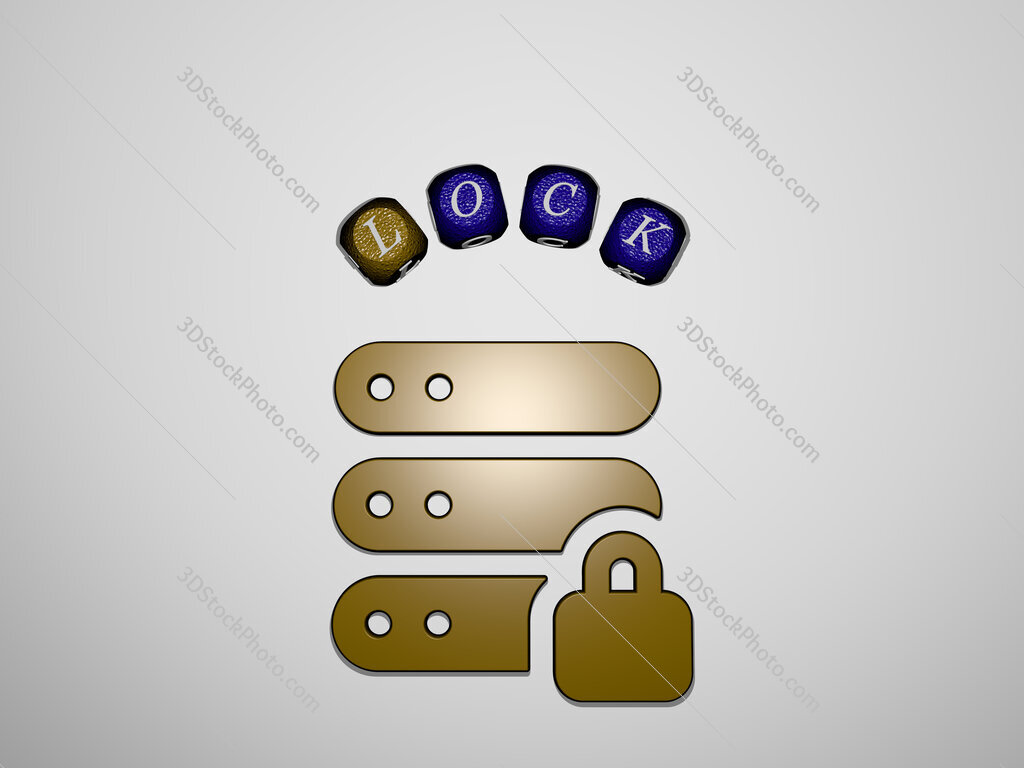 lock icon surrounded by the text of individual letters
