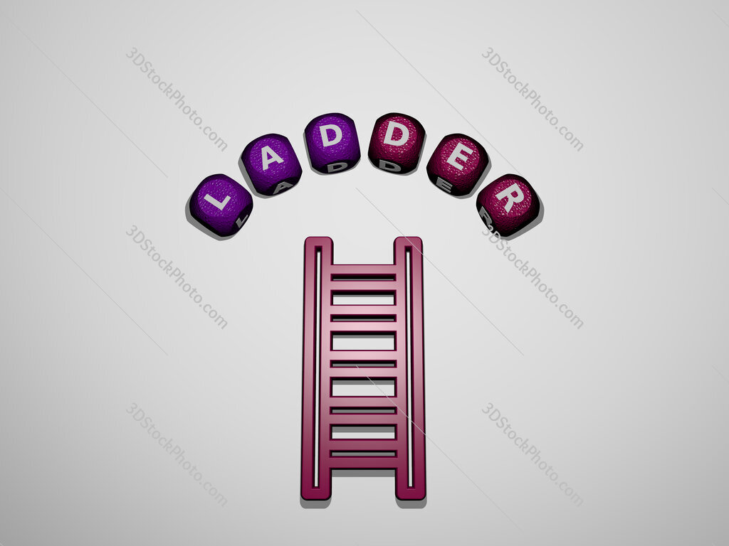 ladder icon surrounded by the text of individual letters