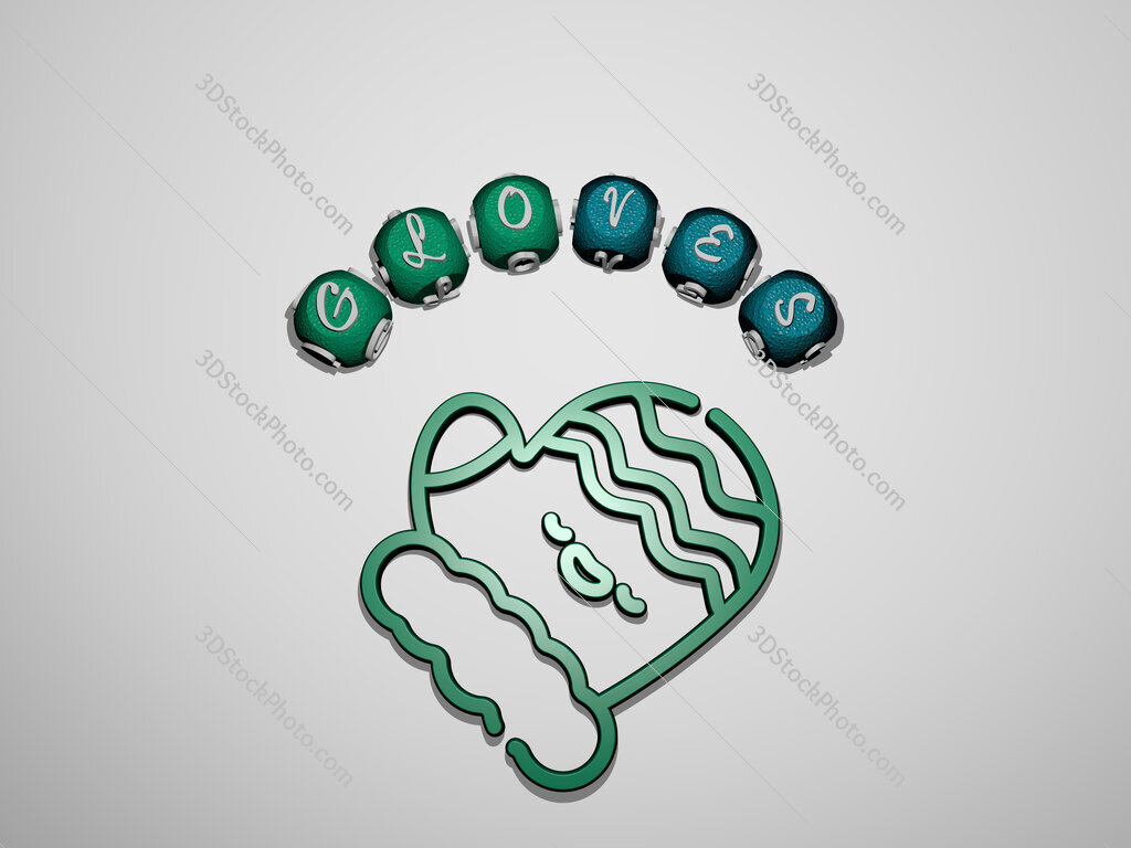gloves icon surrounded by the text of individual letters
